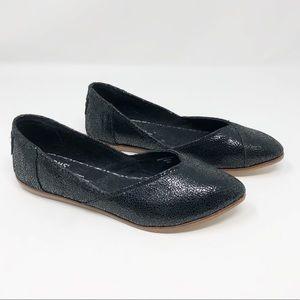 New Toms Julie Flat Crackle Black - Size 9